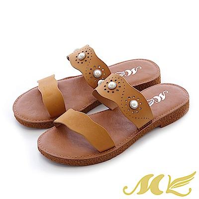 MK-真皮手作-夏日波浪鏤空珍珠厚底拖鞋-棕色