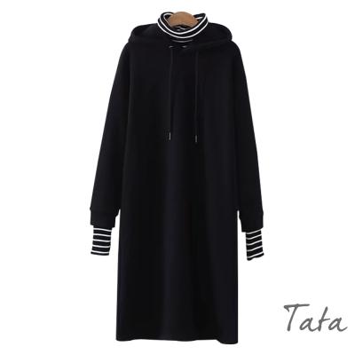 假兩件式連帽繫帶薄絨洋裝 共三色 TATA