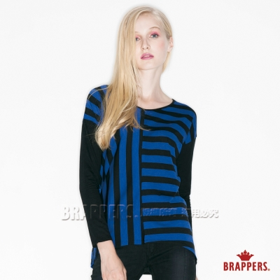 BRAPPERS 女款 女用不對稱條紋剪接上衣-藍黑條