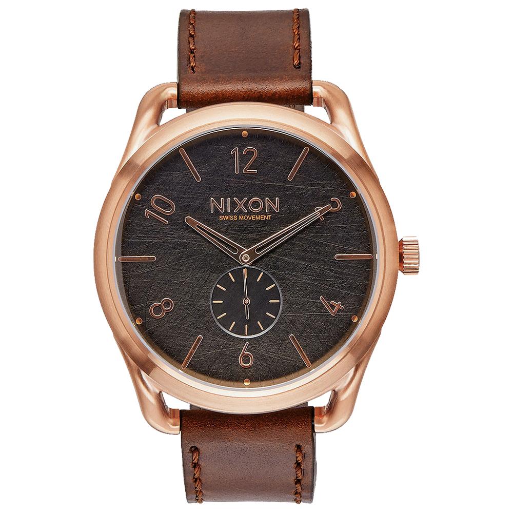 NIXON C45 LEATHER 跟隨自我潮流中性錶-玫瑰金框灰/45mm