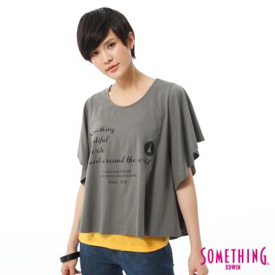 SOMETHING-T恤-隨意自在印花垂袖造型T-女-灰色