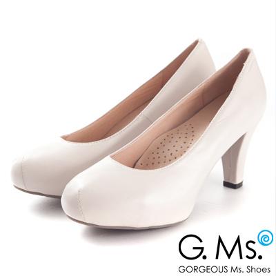 G.Ms.推薦通勤鞋‧靜音鞋跟真皮厚底粗跟包鞋‧杏米