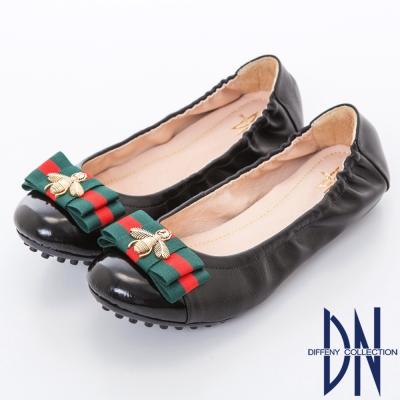 DN 典雅輕熟 金屬蜜蜂蝴蝶結柔軟平底鞋-黑