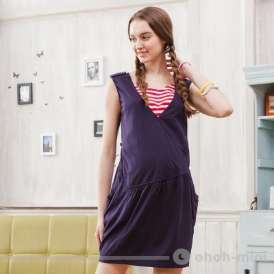 【ohoh-mini 孕婦裝】不對稱剪裁無袖V領洋裝(兩色)