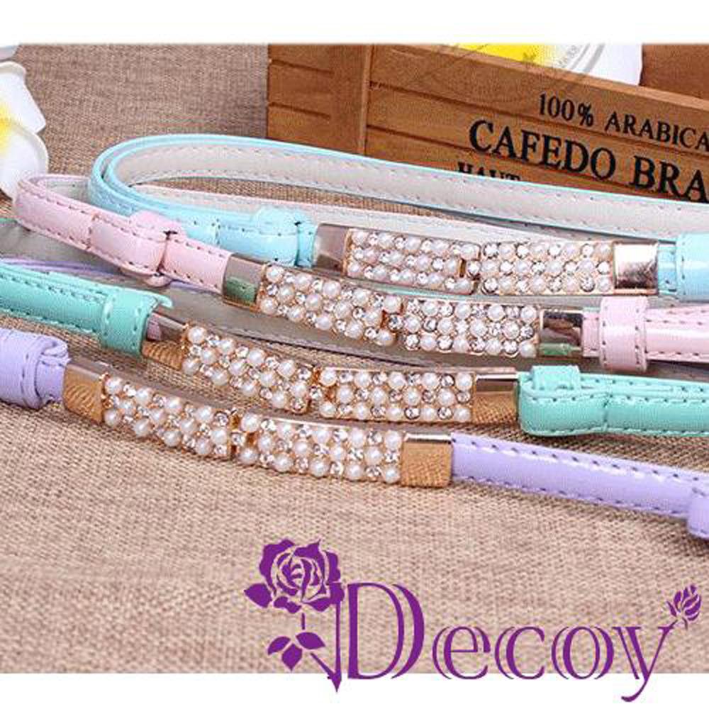 Decoy 珍珠交錯 馬卡龍伸縮皮帶 三色可選