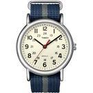TIMEX 天美時 經典復刻冷光Weekender系列-米色面x藍間灰色帆布帶/38mm