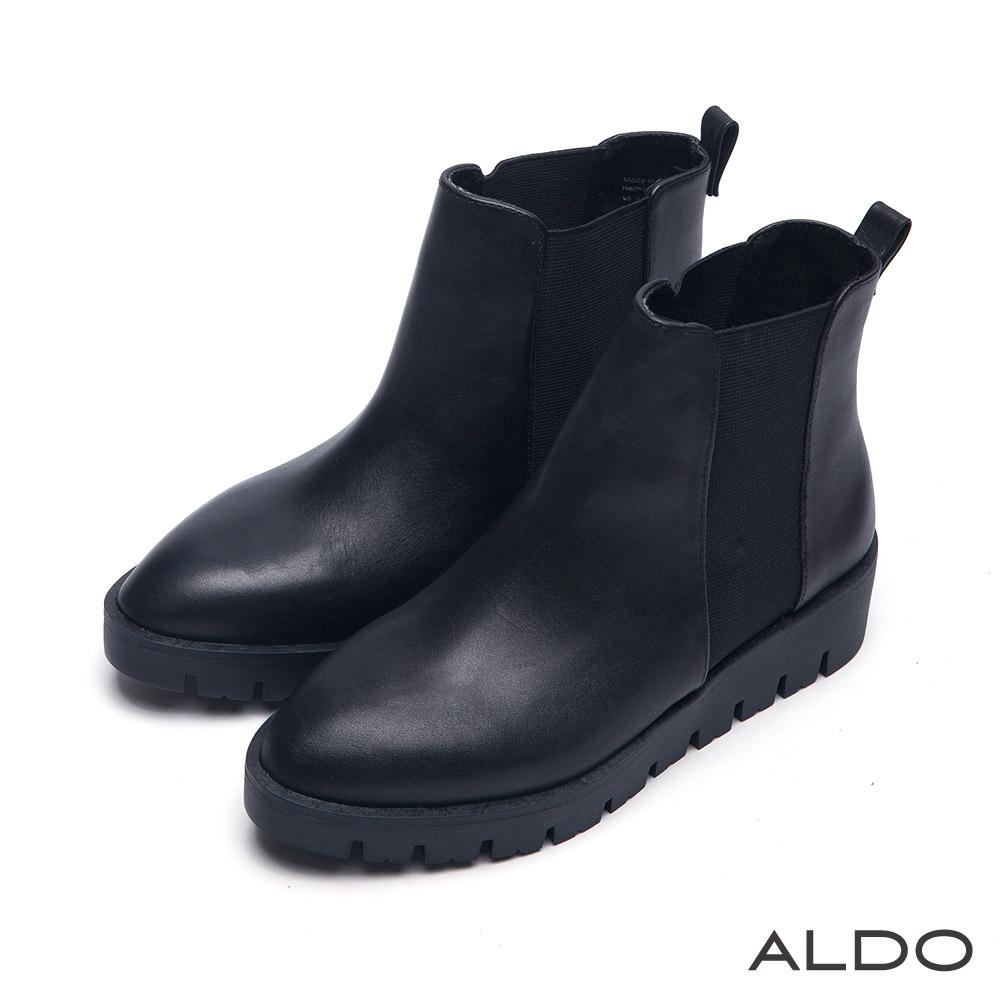 ALDO 原色真皮幾何鬆緊彈性防水台厚底短靴~尊爵黑色