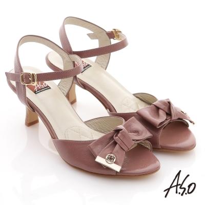A.S.O 軟芯系列 真皮蝴蝶結飾釦高跟涼鞋 豆沙