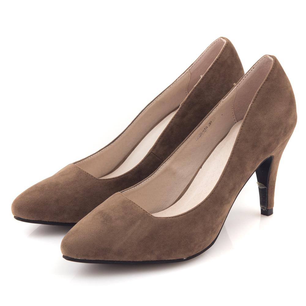 G.Ms.  千金氣質-麂細絨布小尖頭素面高跟鞋-可可灰