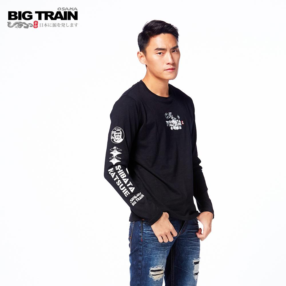 BIG TRAIN 柴田勝家圓領長袖T-男-黑