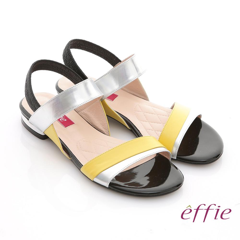 effie 軟芯系列 全羊皮拼色一字帶平底涼鞋 黃