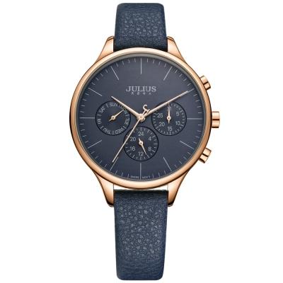 JULIUS聚利時 英倫情人三眼設計皮帶錶-深藍/37mm