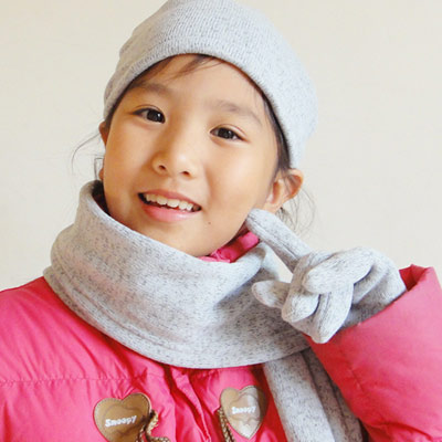 【CoFeel酷咖絨】咖啡混紡兒童時尚保暖圍巾-灰色