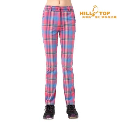 【hilltop山頂鳥】女款吸濕排汗抗UV彈性合身長褲S07FE7粉蜜彩格