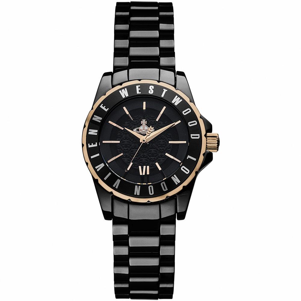 Vivienne Westwood 皇室經典陶瓷時尚腕錶-黑/30mm