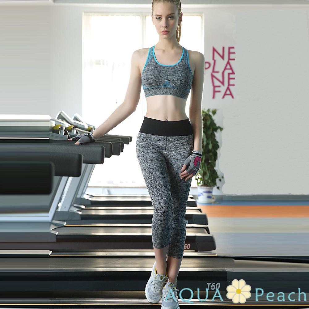 運動內衣 色彩邊條混色質感抓皺背心 (藍色)-AQUA Peach