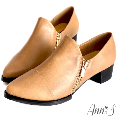 Ann'S復古風格-雙拉鍊素面牛津便鞋 杏