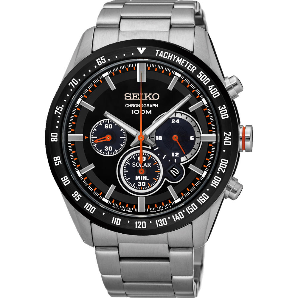 SEIKO Criteria 極速風暴太陽能計時碼錶(SSC463P1)-黑/42mm