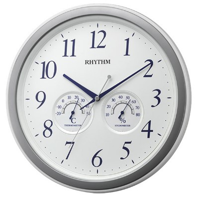 RHYTHM 日本麗聲 靜音 溫濕度掛鐘(8MGA37SR03)白-33cm