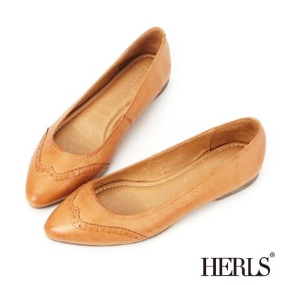 HERLS-全真皮-柔軟-雕花-樂福鞋-深杏色