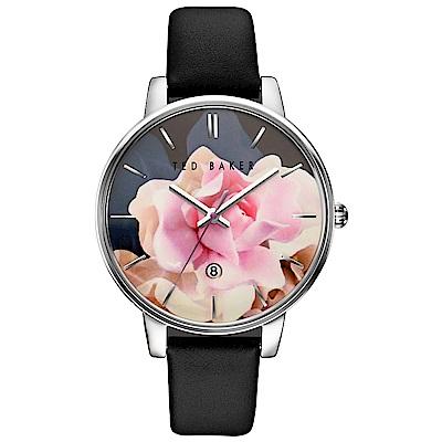 Ted Baker 花漾英倫時尚皮革手錶-銀框X黑/40mm