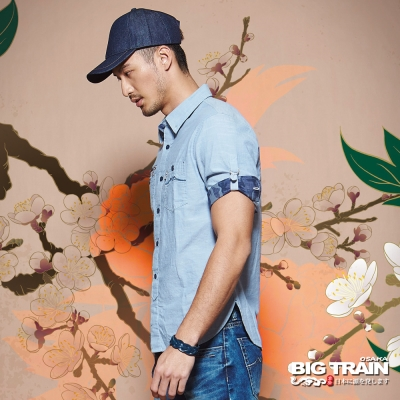BIG TRAIN中大尺碼 加大素色配迷彩五分袖襯衫-男-淺藍