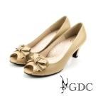 GDC-素面氣質蝴蝶結魚口粗低跟鞋-卡其色