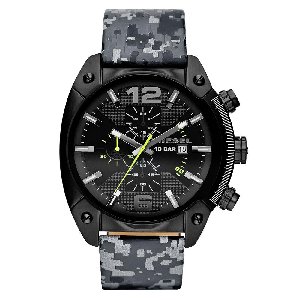 DIESEL 機械型男個性三環時尚腕錶-黑x反光迷彩/49mm