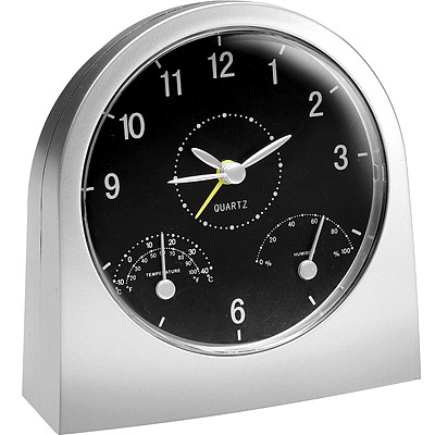 REFLECTS 弧型桌面溫濕度鬧時鐘(霧銀)