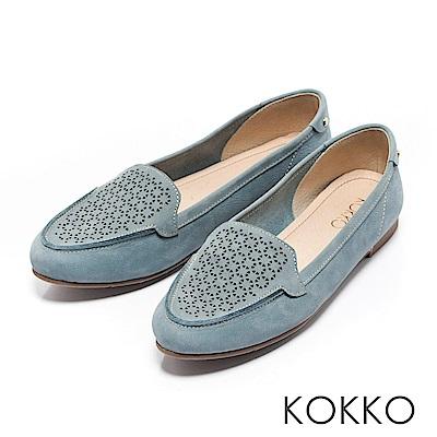 KOKKO - 夏日清新雕花真皮平底莫卡辛休閒鞋-小男孩藍