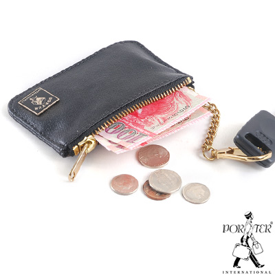 PORTER - 迷幻復古MORI鑰匙掛環零錢包 - 黑