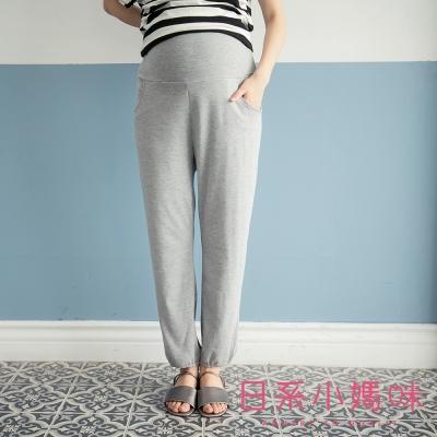 日系小媽咪孕婦裝-台灣製孕婦褲-鬆緊縮口褲管休閒棉褲-共四色