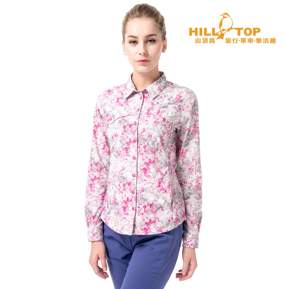 【hilltop山頂鳥】女款吸濕排汗抗UV長袖襯衫S05F68白底灰桃紅印花