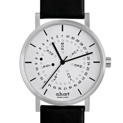 a.b.art O系列 經典日期星期圓盤跳點腕錶-銀白/40.5mm