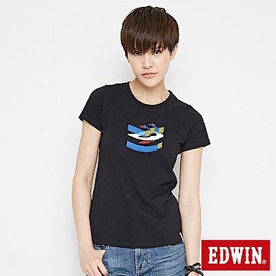 EDWIN 立體字型印花短袖T恤-女-黑色