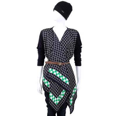 MICHAEL KORS 深藍色幾何圖形拼接不規則造型上衣 (附腰帶)