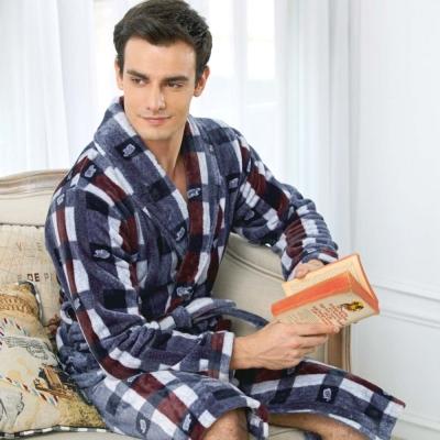 睡袍-極暖柔軟水貂絨男性長袖睡袍-50241-灰藍