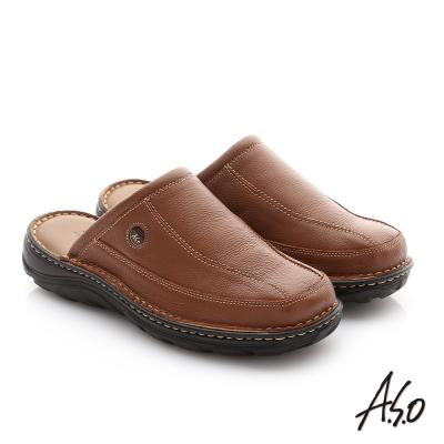 A.S.O 抗震雙核心 摔花牛皮紳士休閒張菲鞋 茶色