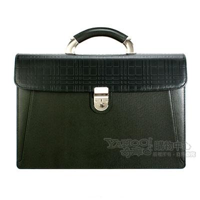 BURBERRY-經典正格紋皮革手提公事包-深綠