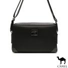 CAMEL - 經典品味配皮荔枝紋休閒橫式側背包