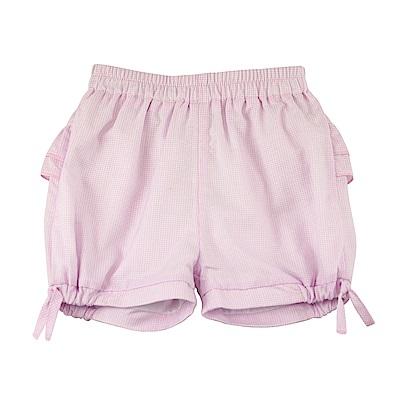 愛的世界 純棉鬆緊帶細格紋造型短褲/6M~2歲