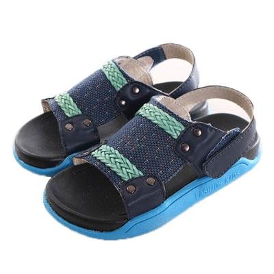 編織織帶魔鬼貼休閒涼鞋 藍 sk0171 魔法Baby