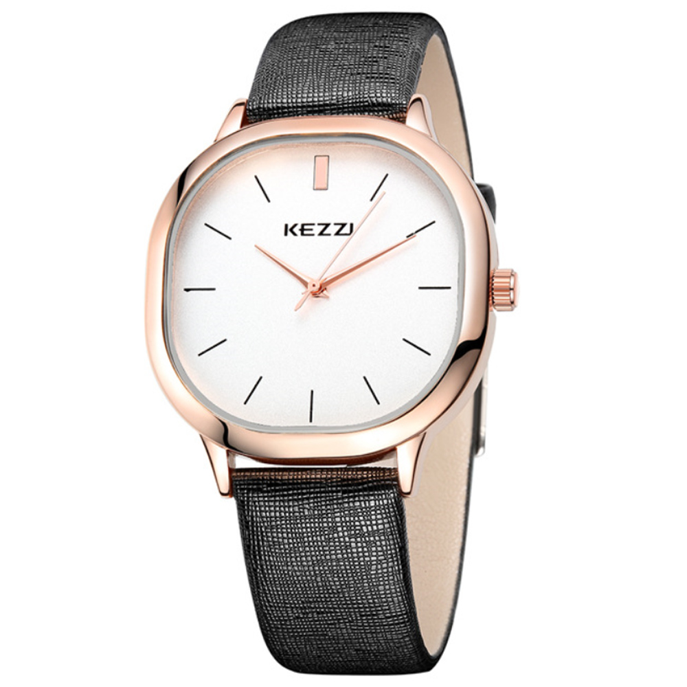 Kezzi-1125日式極簡方形情侶手錶-黑色x男38x38mm