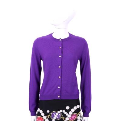 BOUTIQUE MOSCHINO 紫色彩鑽釦飾羊毛外套