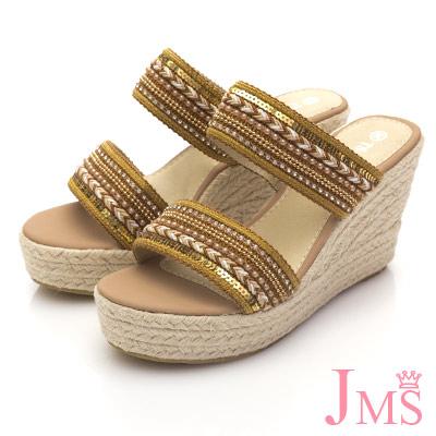 JMS-亮眼配色串珠厚底楔型涼拖-棕色