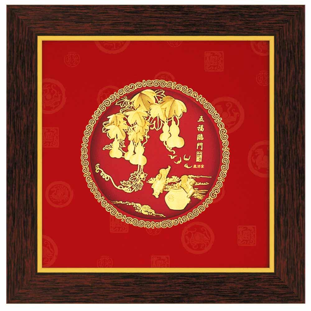 鹿港窯-立體金箔畫-五福臨門(圓形系列20.6x20.6cm)