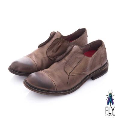 Fly London(男) 自由派 無帶直套牛皮直套皮鞋 - 莎士比亞咖