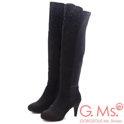 G.Ms. 麂皮絨貼鑽拼接彈力布過膝長靴~纖腿黑