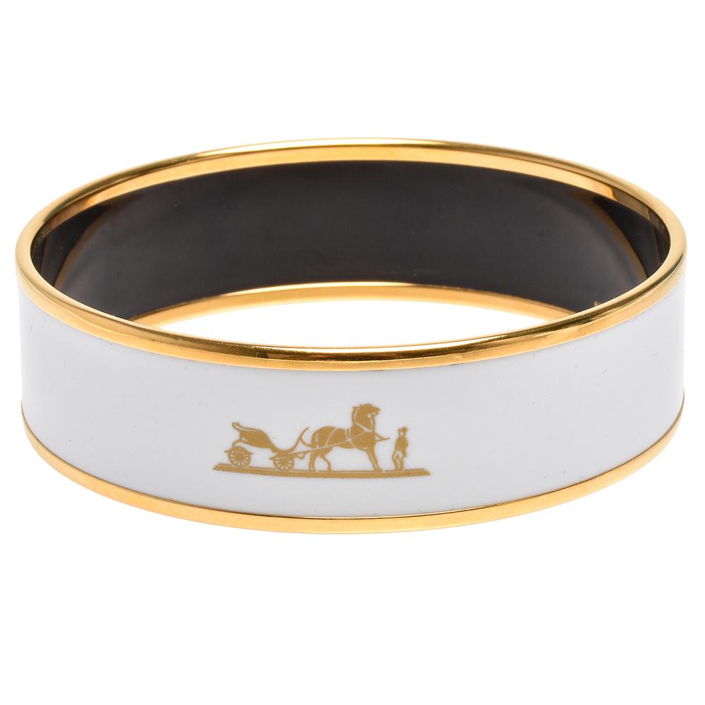 HERMES Caleche經典馬車LOGO印花圖騰琺瑯中版手環(白X金)