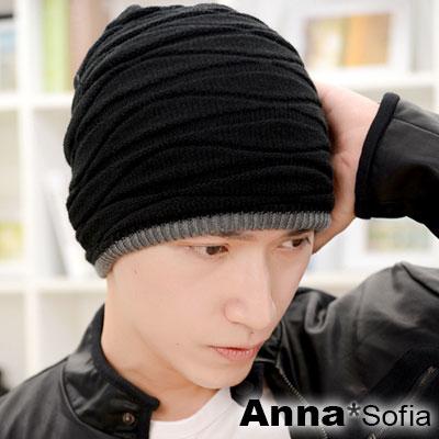 AnnaSofia-雙面戴彈性波線交錯-保暖針織貼